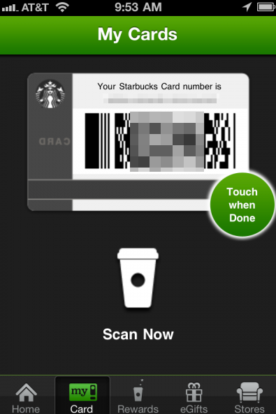 Starbucks Card Screenshot - iOS